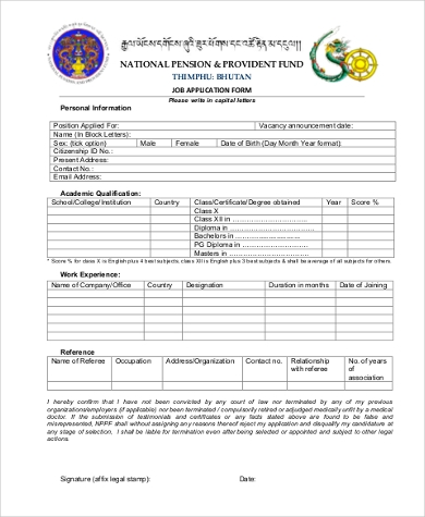 Job Application Form Samples 9 Free Documents In Word Pdf