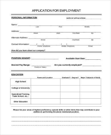 printable job application form