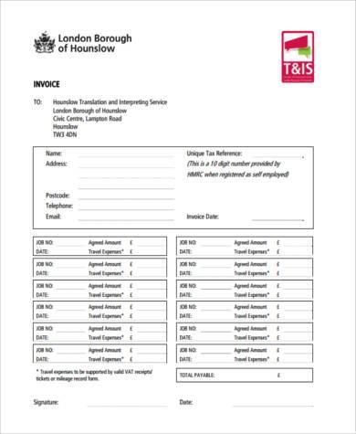 printable job invoice form