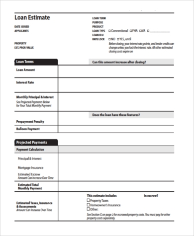 Sample Loan Estimate Form   Free Documents In Word Pdf