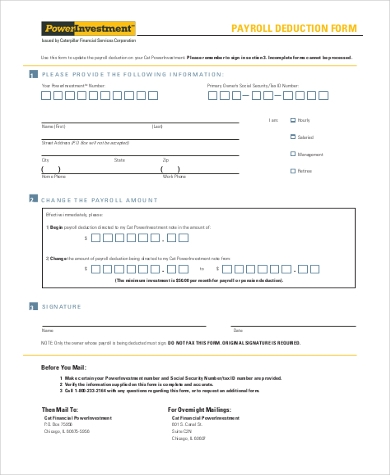 printable payroll deduction form