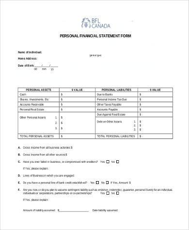 Personal Financial Statement Form Samples   Free Documents In