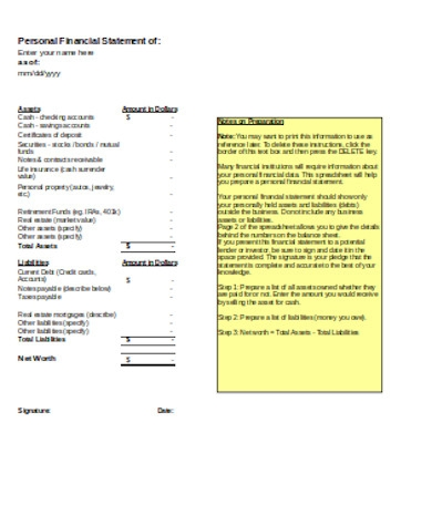 printable personal financial statement form1