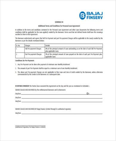 printable personal loan agreement form