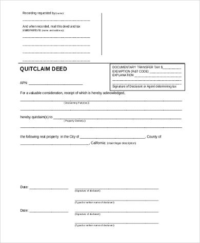 Printable Quitclaim Deed Form In Pdf   Ca Grant Deed Form