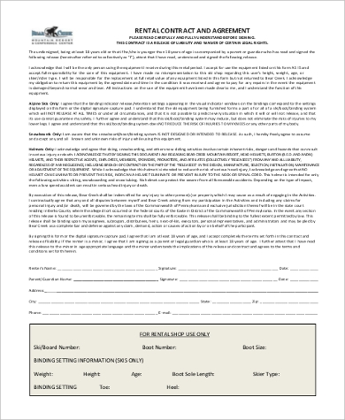 printable rental contract agreement form