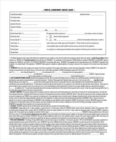 Printable Lease Form. Free Copy Rental Lease Agreement Sample Free
