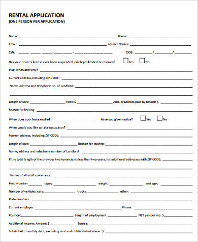 Sample Renters Application Forms - 7+ Free Documents In Pdf