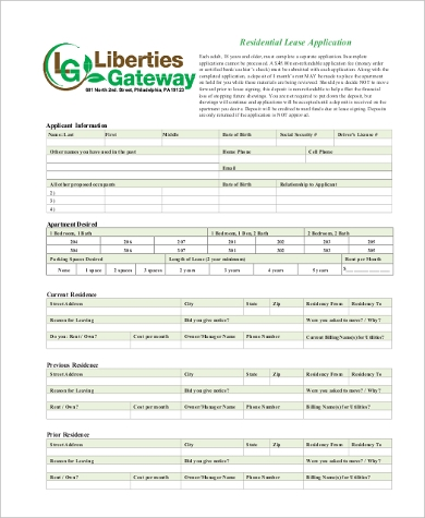 printable residential lease application