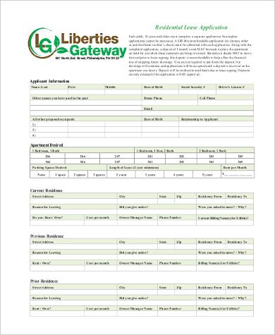 residential rental application form pdf