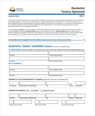 Sample Residential Rental Agreement   Free Documents In Word Pdf