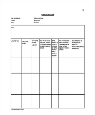printable risk assessment review form