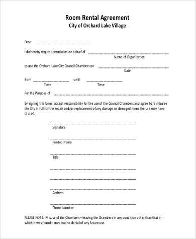 Printable Room Rental Agreement Form