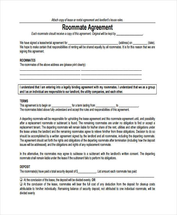 8 Sample Roommate Agreements Free Sample Example Format Download – Roommate Lease Agreement