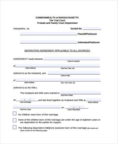 Separation agreement form samples 10 free documents in pdf printable separation agreement form thecheapjerseys