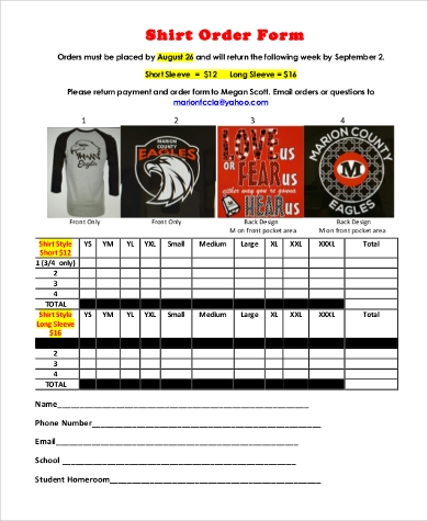 Sample Shirt Order Forms - 9+ Free Documents In Pdf