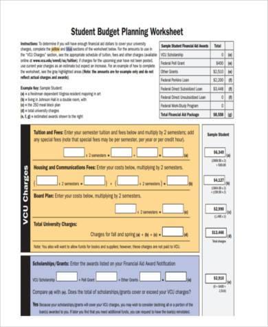printable student budget form