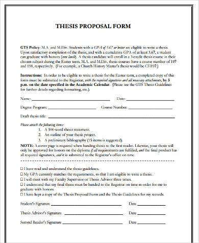 printable thesis proposal form