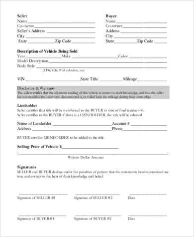 Truck Purchase Agreement Printable Vehicle Purchase Agreement Latch