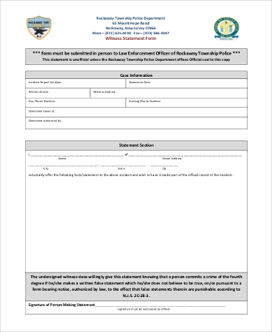 Witness Statement Form Samples   Free Documents In Word Pdf