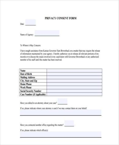 privacy consent form example
