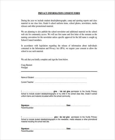 privacy information consent form
