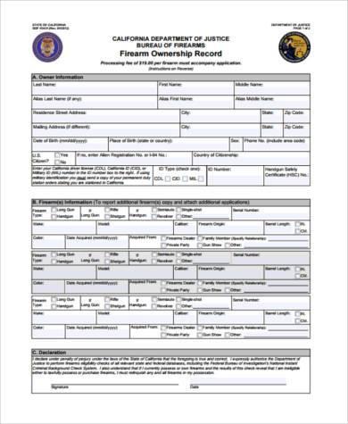 private firearm transfer form