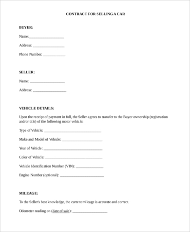 Vehicle purchase agreement 8 free documents in word pdf for Car deposit contract template