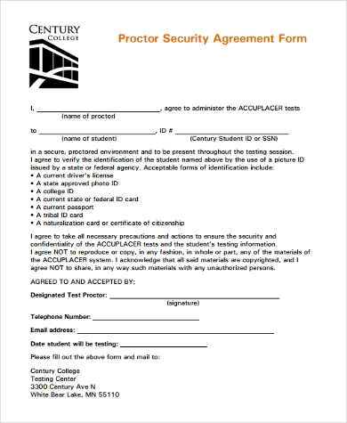 proctor security agreement form