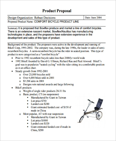 product sales proposal sample