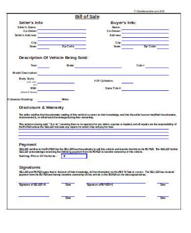 professional auto bill of sale