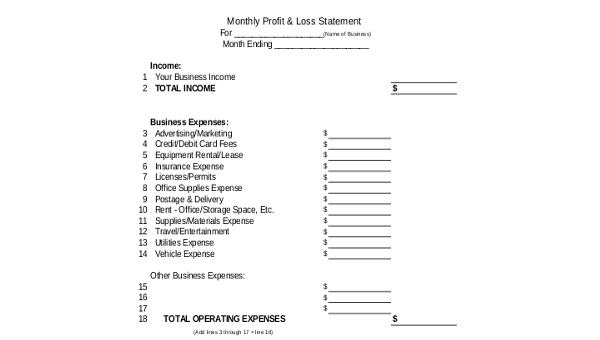 sample profit and loss statement pdf