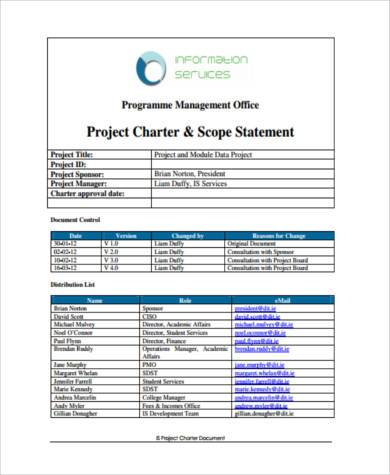 project charter and scope statement
