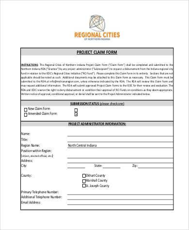 project claim form sample