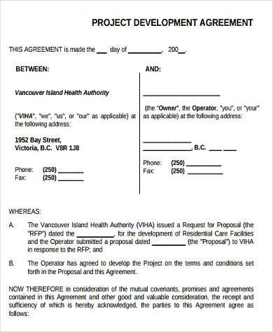 Charming Project Development Agreement Form