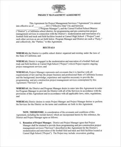 Management Agreement Samples   Free Documents In Word Pdf