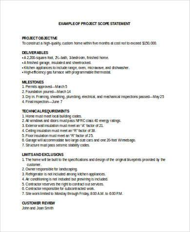 Sample project scope statement 8 free documents in word for Scope documents project management