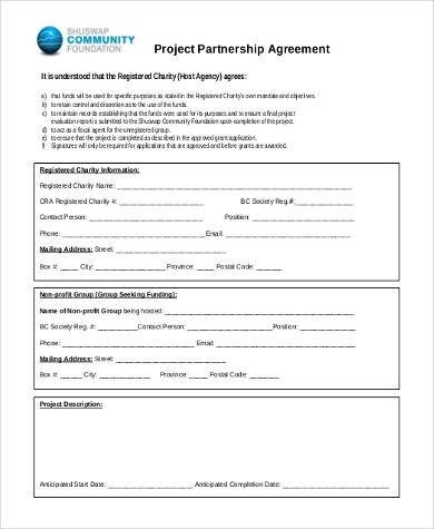 project partnership agreement