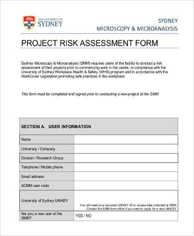 project risk assessment form example1