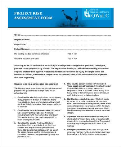 project risk assessment form free