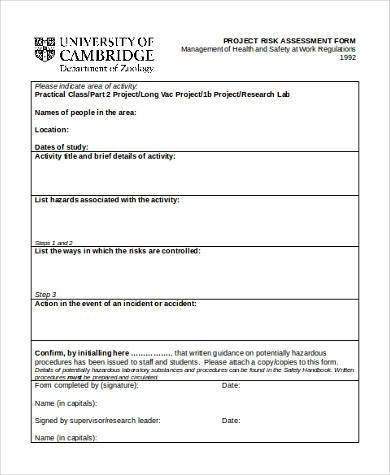 Sample Project Risk Assessment Forms   Free Documents In Word Pdf