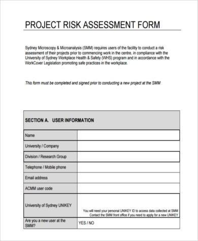 project risk assessment form