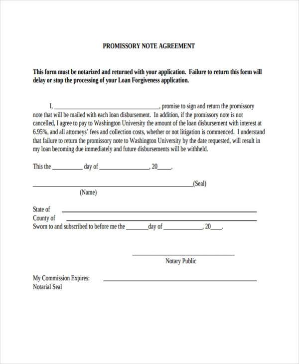 Promissory Note Agreement Form PDF  Promissory Note Sample Pdf
