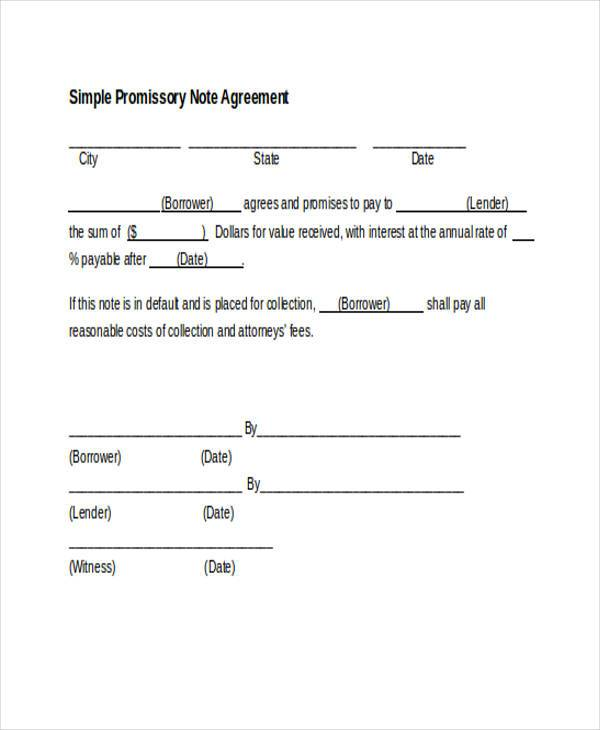Sample Promissory Note Agreement Forms 8 Free Documents in Word – Form Promissory Note