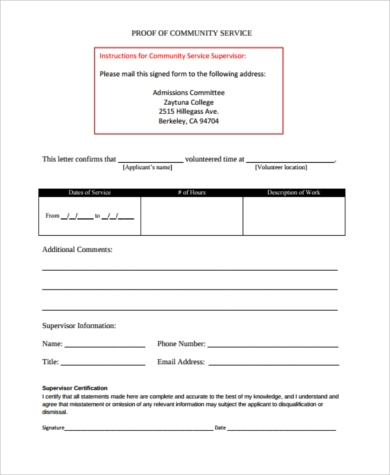 Sample Proof Of Service Form   Examples In Pdf