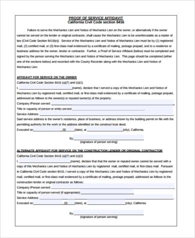 proof of service affidavit form