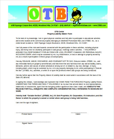 property liability waiver form