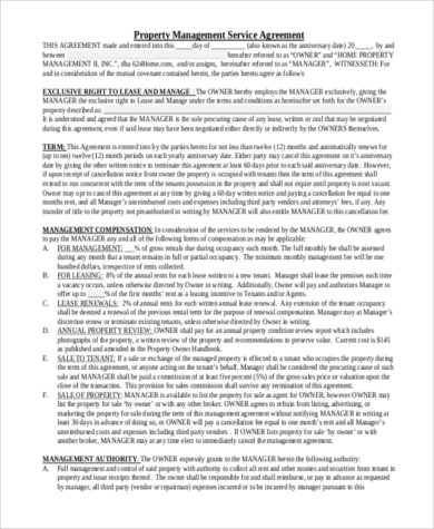 property management contract printable