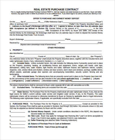 purchase contract agreement form