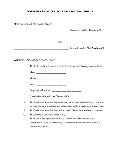 Purchase And Sale Agreement For Motor Vehicle